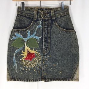 VINTAGE 90's Hand-Painted Denim Skirt Unique Piece